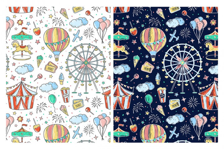 Amusement Park Illustrations and Patterns by Redchocolate Illustrations 2