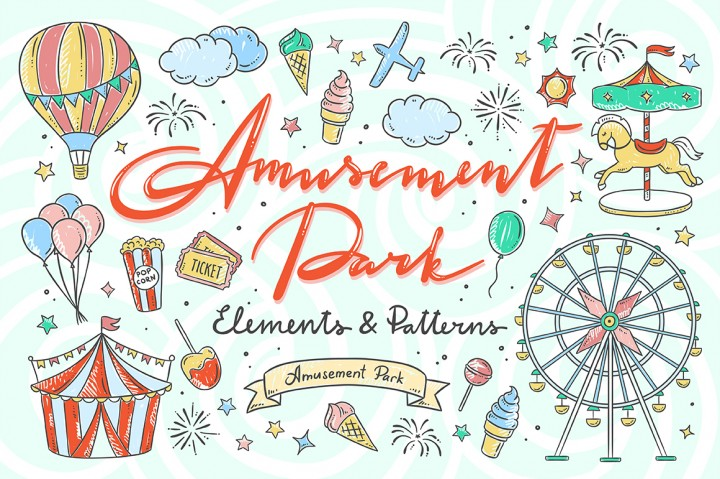 Amusement Park Illustrations and Patterns by Redchocolate Illustrations