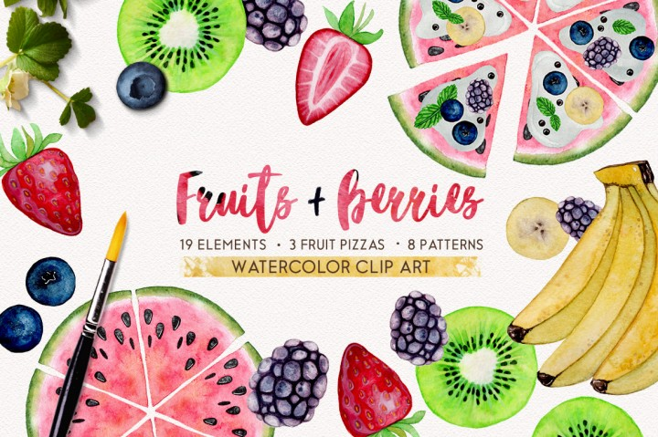 fruits + berries watercolor set by smolova