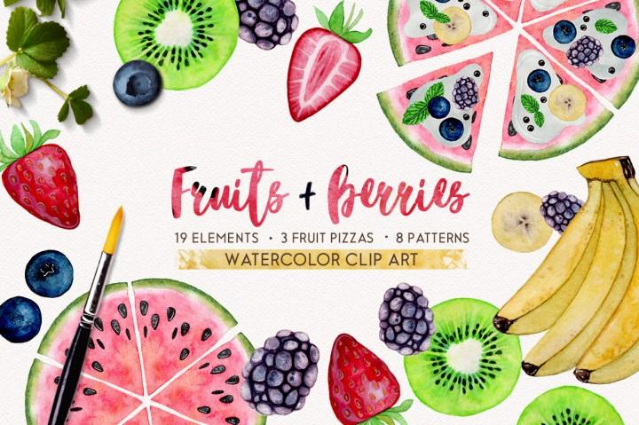 fruits + berries watercolor set by smolova