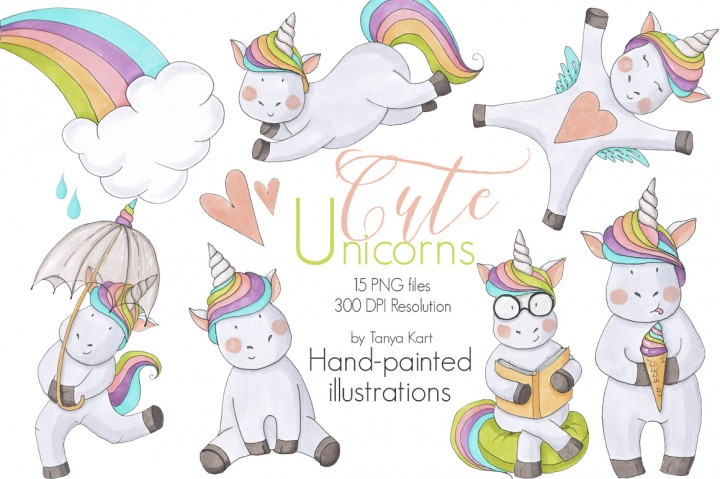 Cute Unicorns Hand Painted