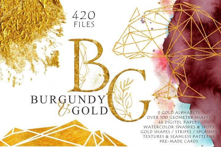 Burgundy and Gold Watercolor Graphic Set by EvgeniiasArt