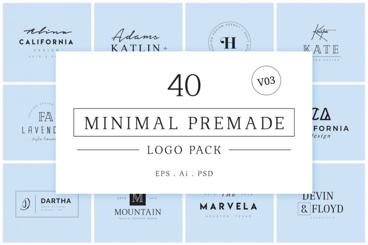 Minimal Premade Logo Bundle V03 by XpertgraphicD