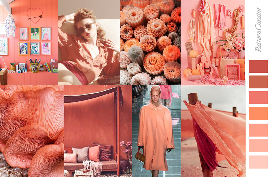 Living Coral 2019 Fashion Mood Board By Pattern Curator2