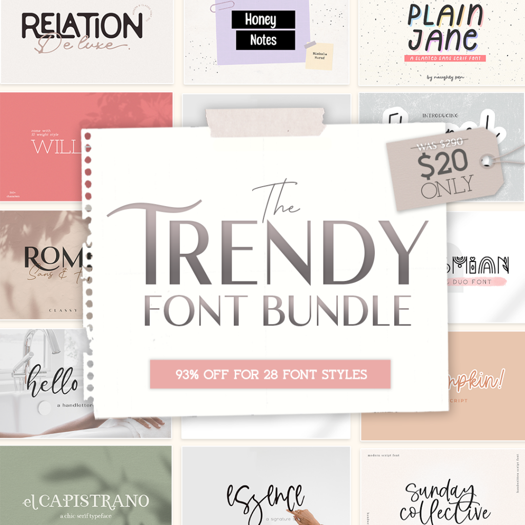28 New Classy Font Styles in The Trendy Font Bundle