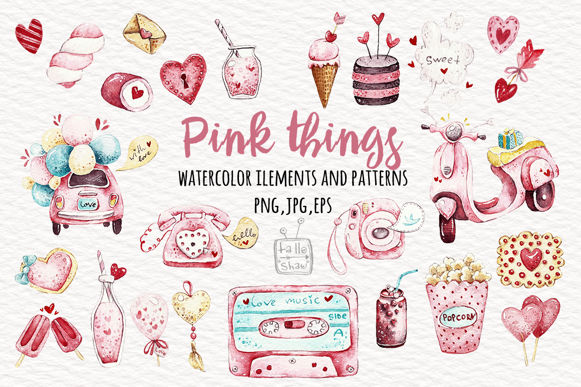 Watercolor Pink Things - The Spring Romance Bundle