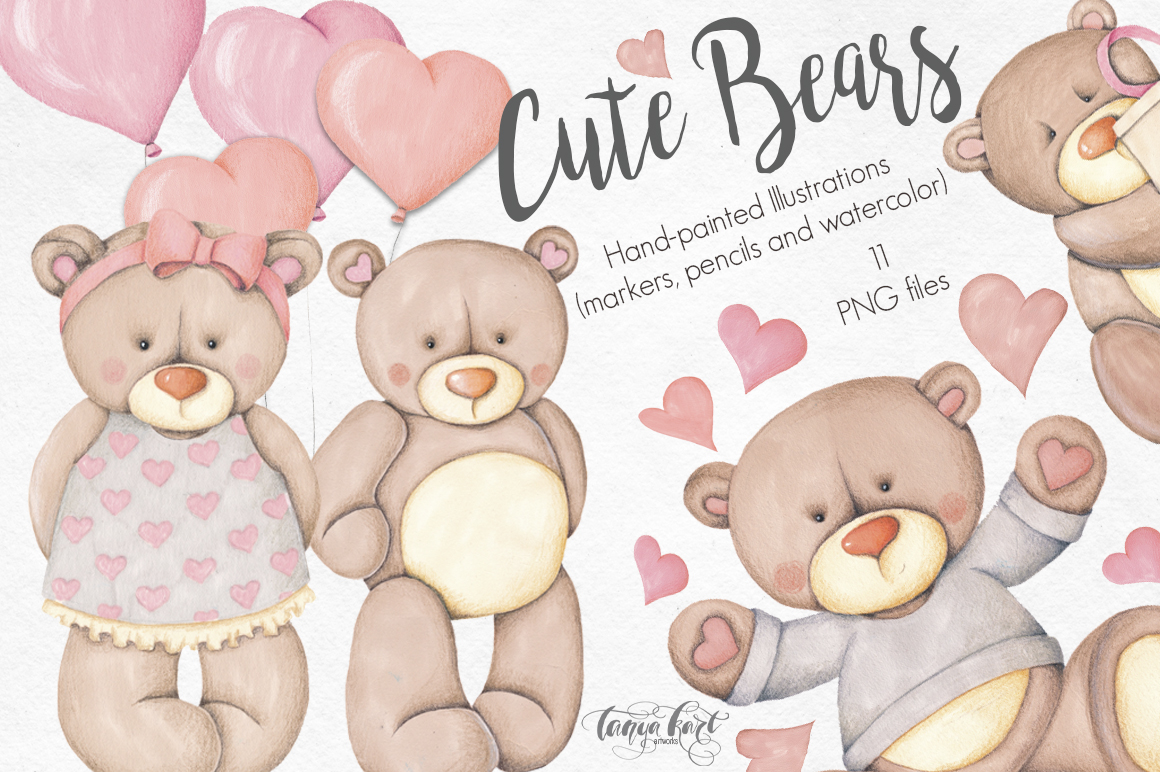 Cute Bears Hand-painted Collection - The Spring Romance Bundle