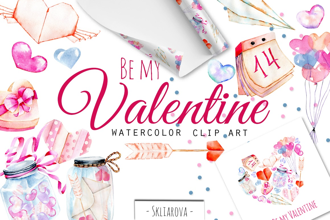 Be My Valentine Watercolor Clip Art - The Spring Romance Bundle