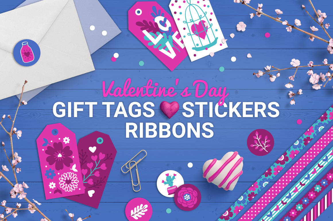 Valentine's Gift Tags, Stickers & Tapes - The Spring Romance Bundle