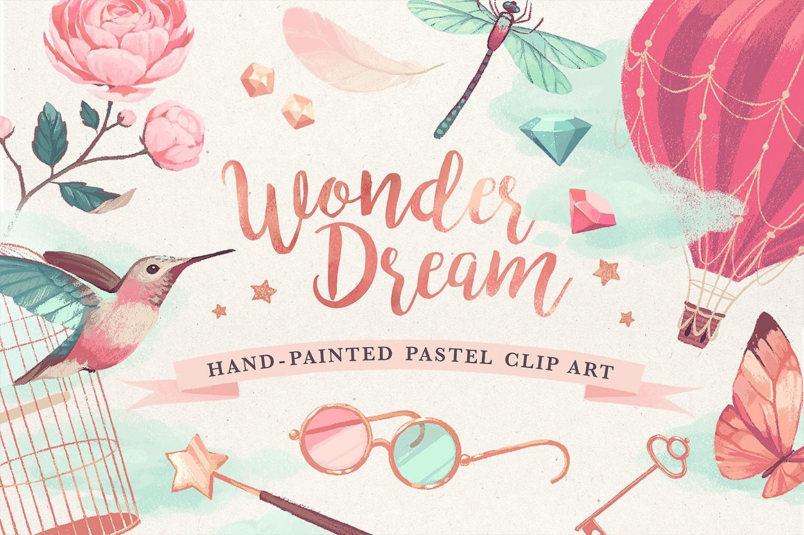 Wonderdream Pastel Clip Art - The Spring Romance Bundle