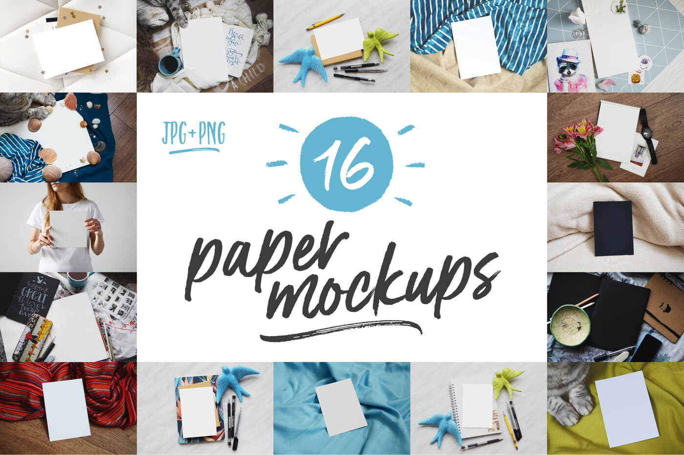 16 Paper Mockups - The Everyday Designer Bundle Vol. 03