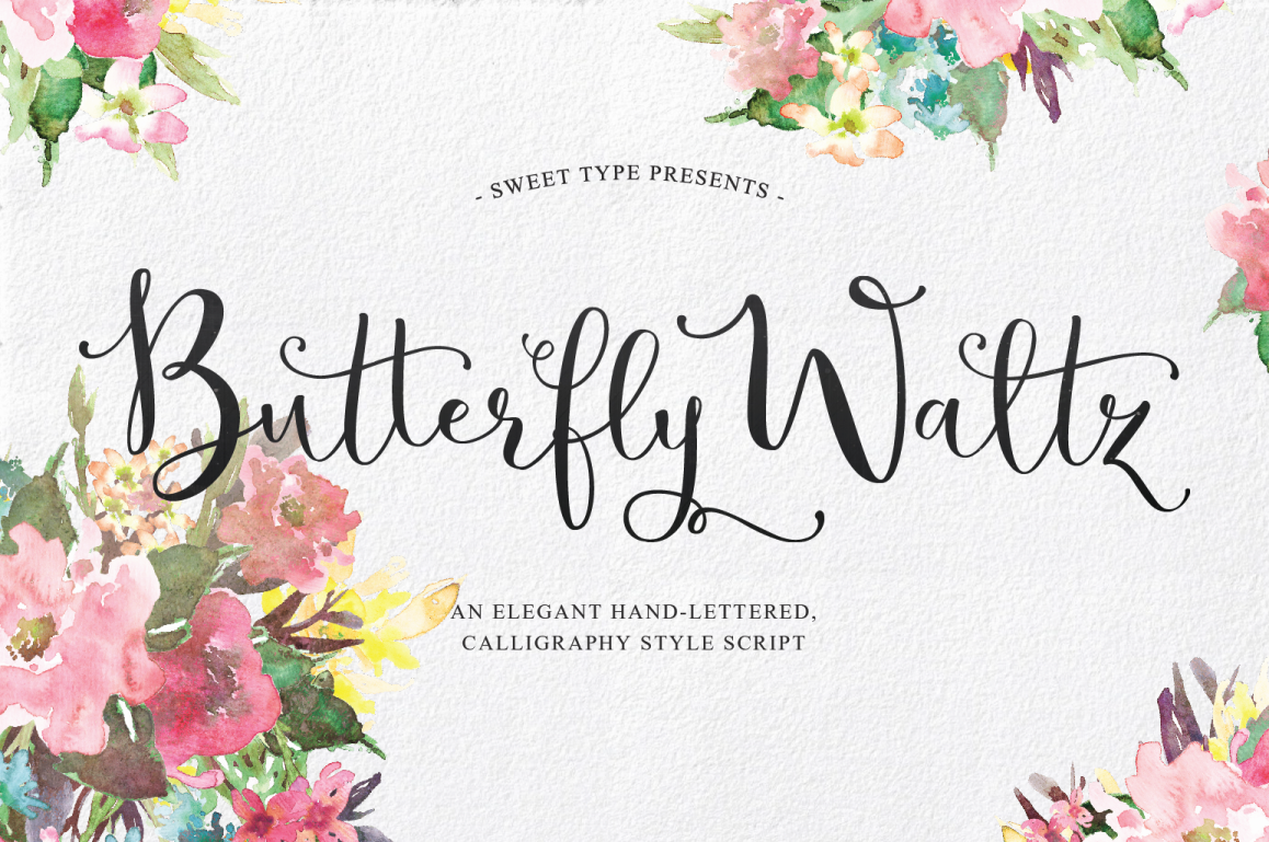 Butterfly Waltz Is A Unique And New Fashioned Hand Lettered Calligraphy Style Script Where Each Letter Connected To One Another Gracefully Regardless