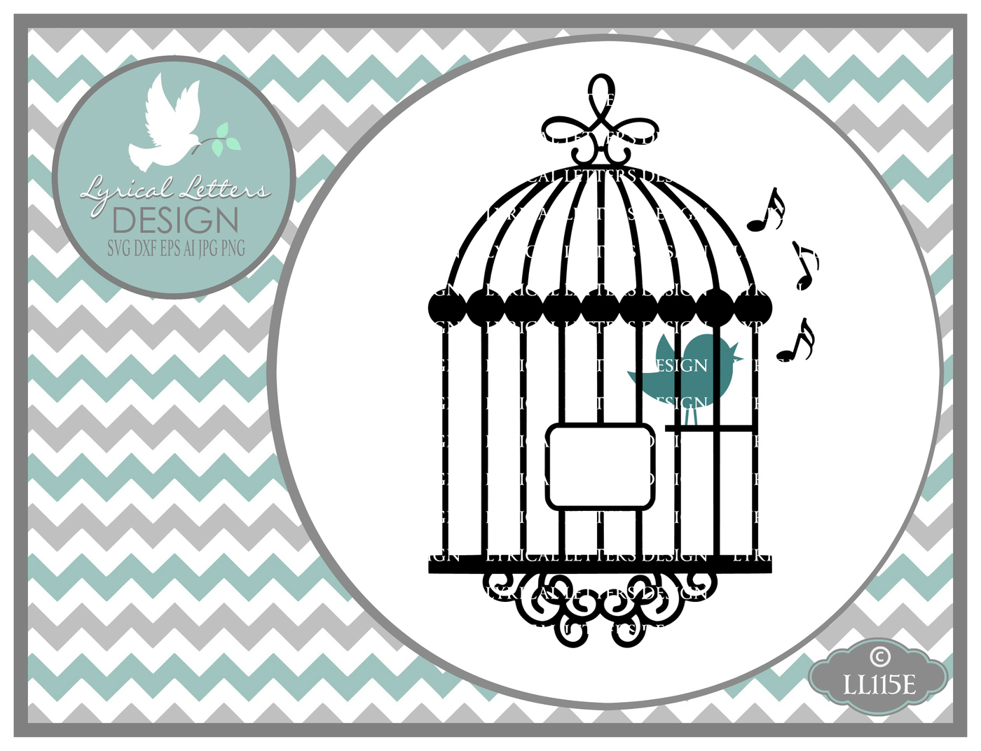 Song Bird In a Cage with music notes