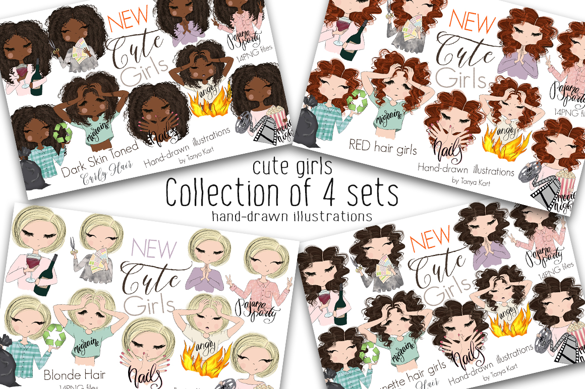 tanya kart collection of 4 sets girls