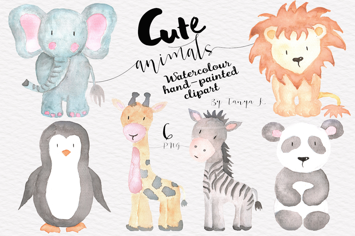 tanya kart cute watercolor animals set